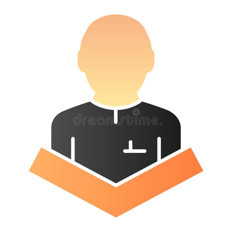 Public speaking flat icon. Lecturer on tribune color icons in trendy flat style. Speech gradient style design, designed. For web and app. Eps 10 stock illustration