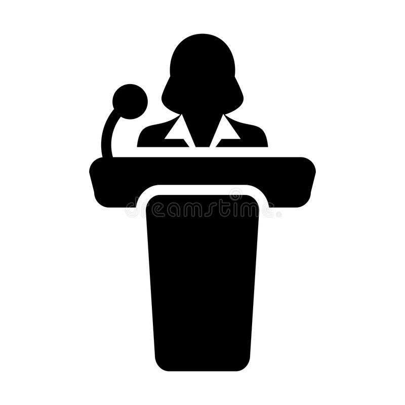Public Speaking Icon Vector Female Person on Podium. For Presentation and Seminar for People with Microphone in Glyph Pictogram Symbol illustration royalty free illustration