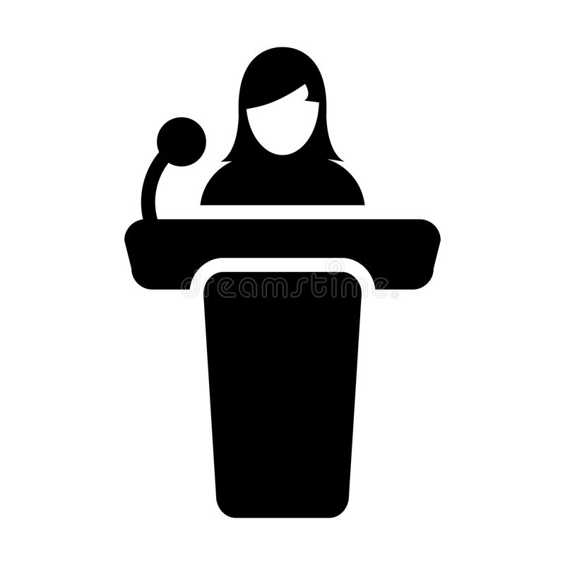 Public Speaking Icon Vector Female Person on Podium. For Presentation and Seminar for People with Microphone in Glyph Pictogram Symbol illustration vector illustration