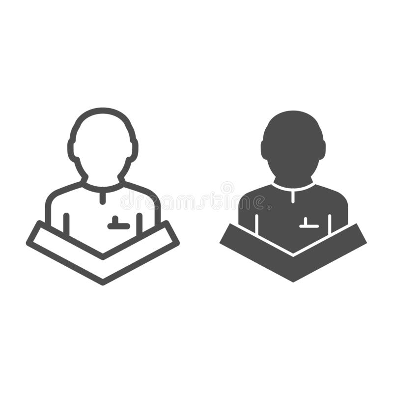 Public speaking line and glyph icon. Lecturer on tribune vector illustration isolated on white. Speech outline style. Design, designed for web and app. Eps 10 stock illustration