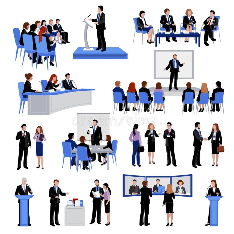 Public Speaking People Flat Icons Collection. With conference meetings and workshop presentations abstract isolated vector illustration vector illustration
