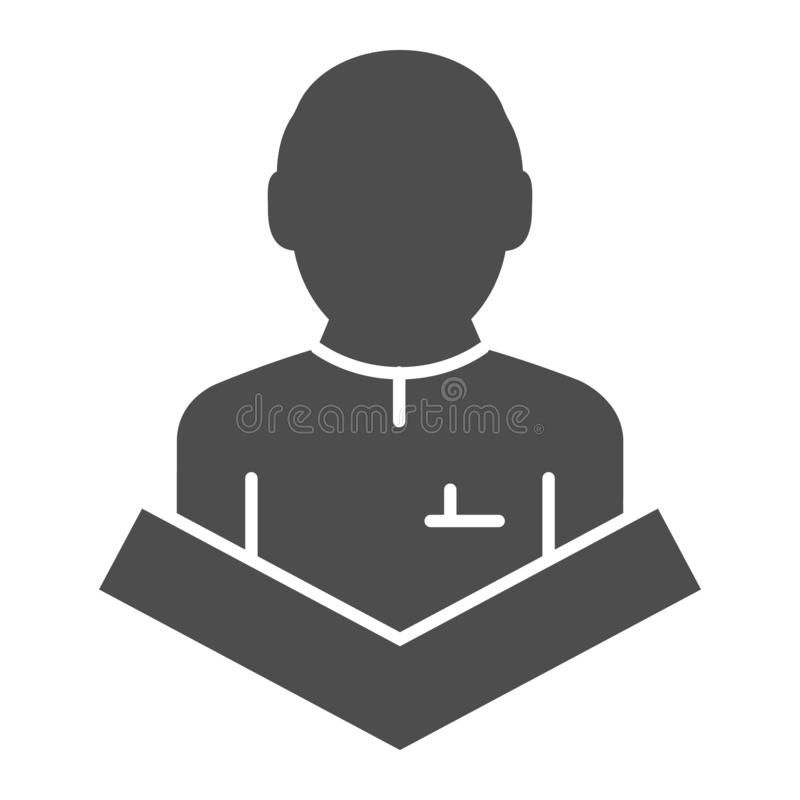 Public speaking solid icon. Lecturer on tribune vector illustration isolated on white. Speech glyph style design. Designed for web and app. Eps 10 stock illustration
