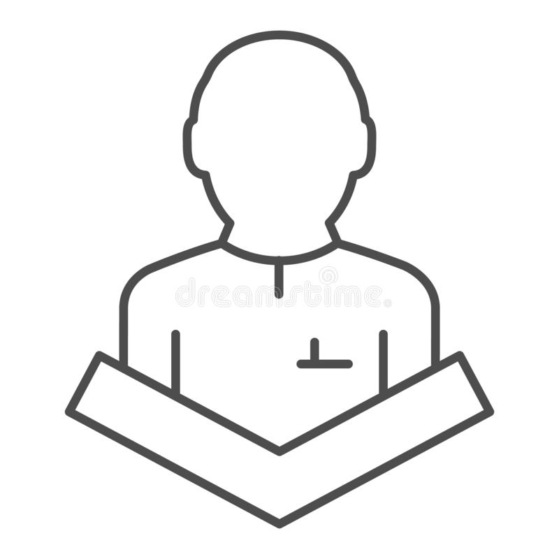 Public speaking thin line icon. Lecturer on tribune vector illustration isolated on white. Speech outline style design. Designed for web and app. Eps 10 royalty free illustration