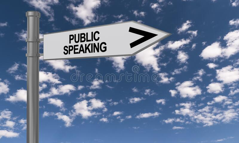 Public speaking traffic sign. On blue sky royalty free stock images