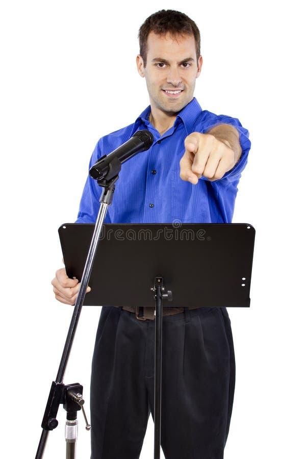 Public Speech. Businessman on a podium making a speech or announcement stock photo