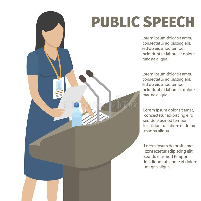 Public Speech From Grandstand with Microphones vector illustration