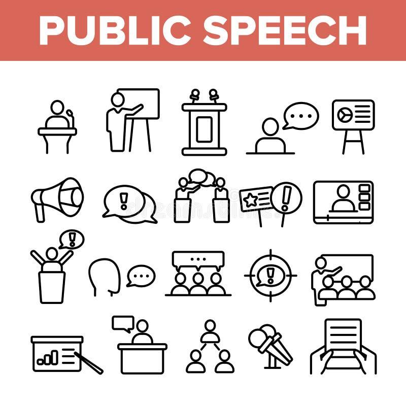 Public Speech Vector Thin Line Icons Set. Public Speech, Oratorical Skills Linear Pictograms. Presentation, Interpersonal Communication, Political Debates royalty free illustration