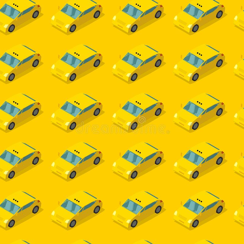 Public taxi car seamless pattern. Cab on yellow background. Taxicab service concept. Vector illustration stock illustration