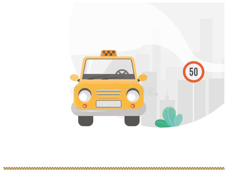Public taxi web banner isolated art web concept. Taxi like main character on background urban city, Sign. Urban taxi service. Taxi in yellow. Cab. Public taxi vector illustration