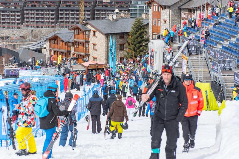 Public and technicians in the final line of the aliga track of El Tarter, Andorra in the 58 race of the FIS Alpine Ski World Cup royalty free stock images
