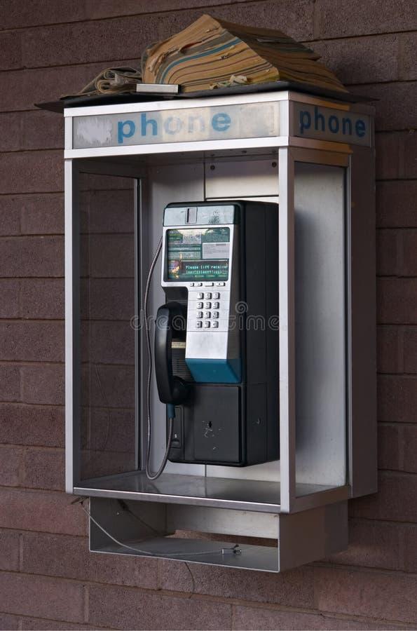 Public telephone. Closeup of public coin-operated telephone stock image