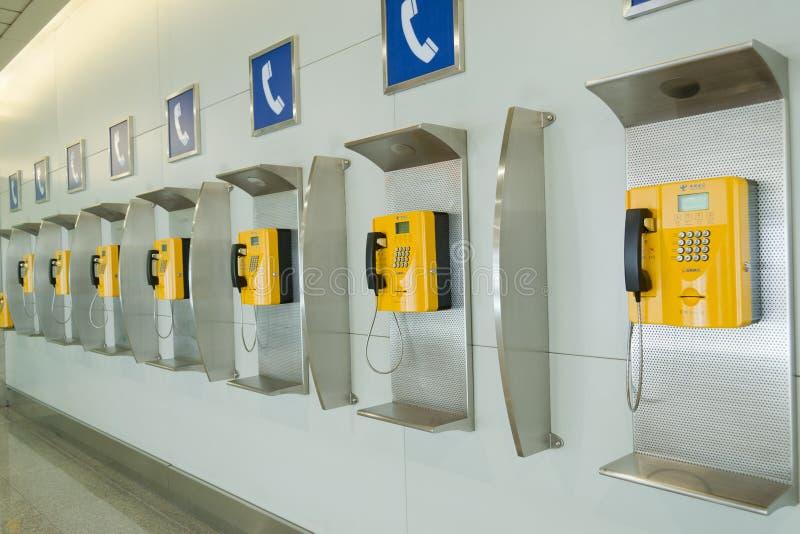 Public telephones. In shuangliu international airport of chengdu,china stock images