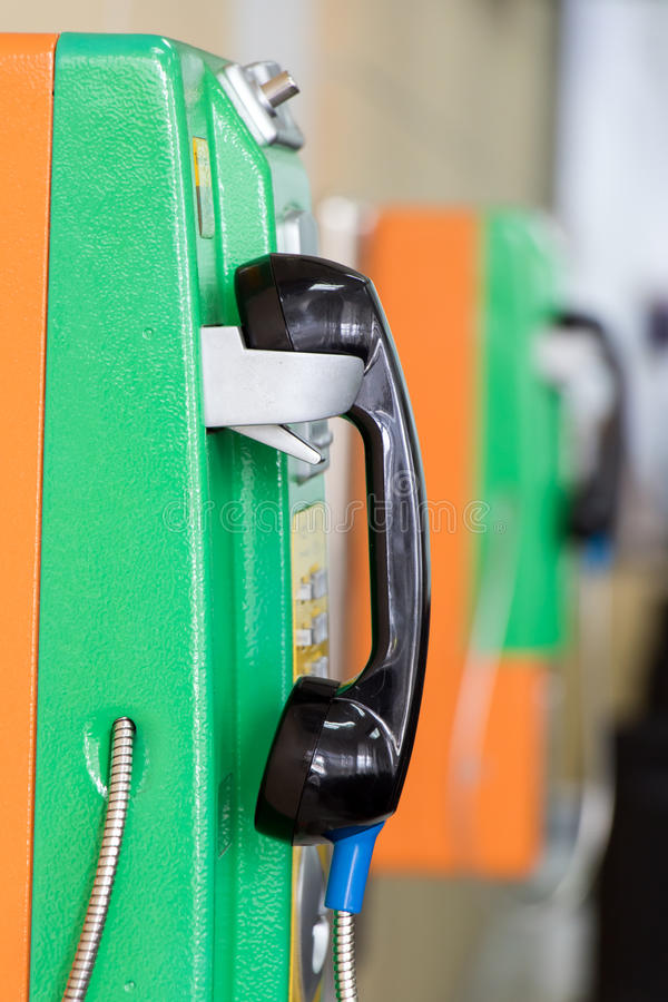 Public telephones on the wall. Of the building royalty free stock photo