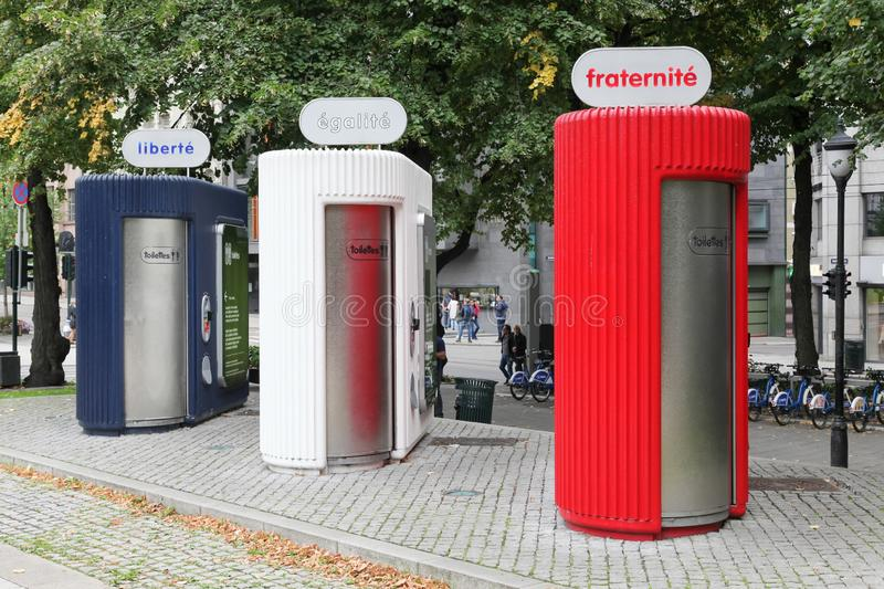 Public toilets in Oslo city at Spikersuppa park royalty free stock photo