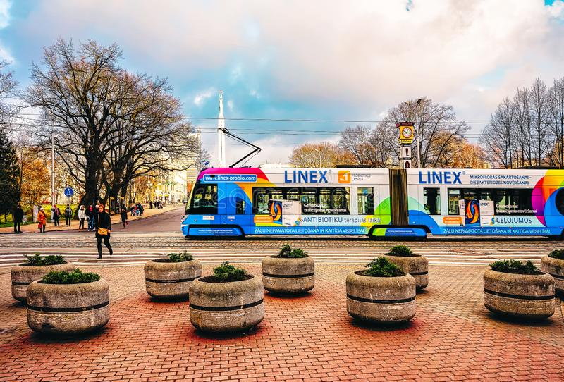 Public tram in street of Riga stock photography