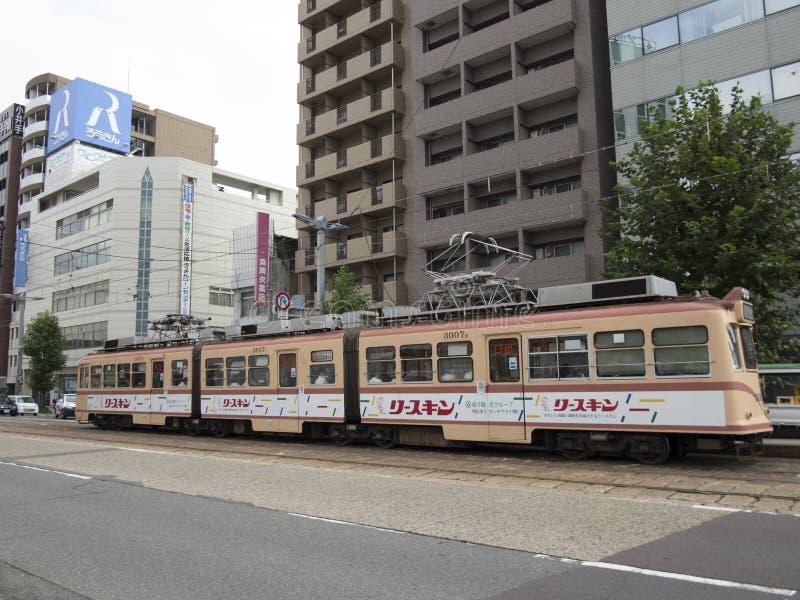 Public tram transportation in Hiroshima royalty free stock photo