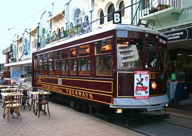 Vintage city tour streetcar, tram, tramcar, tramway, trolley, light rail on New Regent Street in Christchurch, New Zealand stock photography