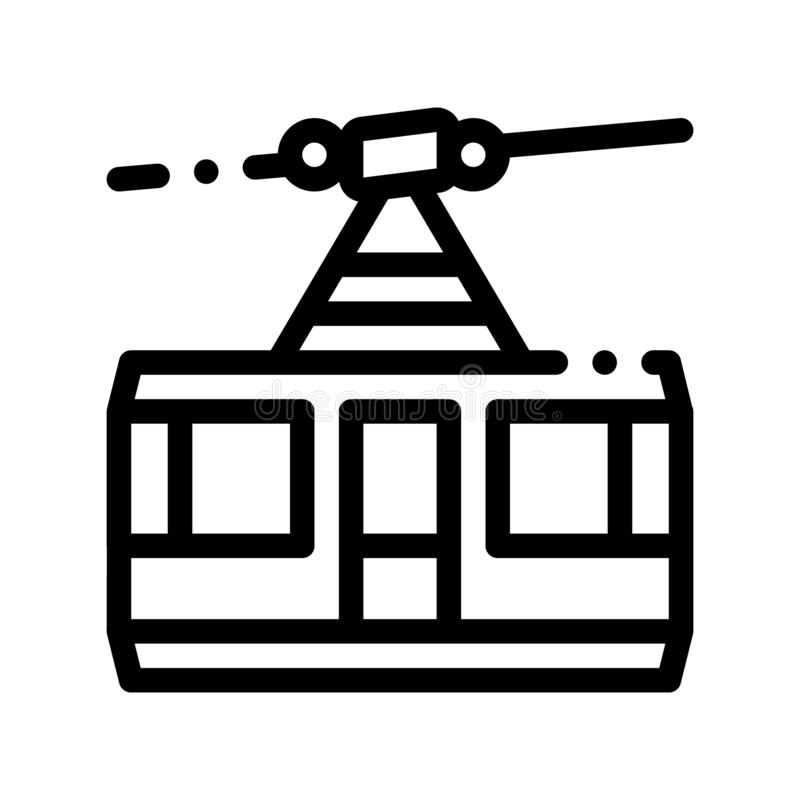 Public Transport Aerial Lift Vector Thin Line Icon. Elevated Mountain Road Aerial Lift, Urban Passenger Transport Linear Pictogram. City Transportation Passage royalty free illustration