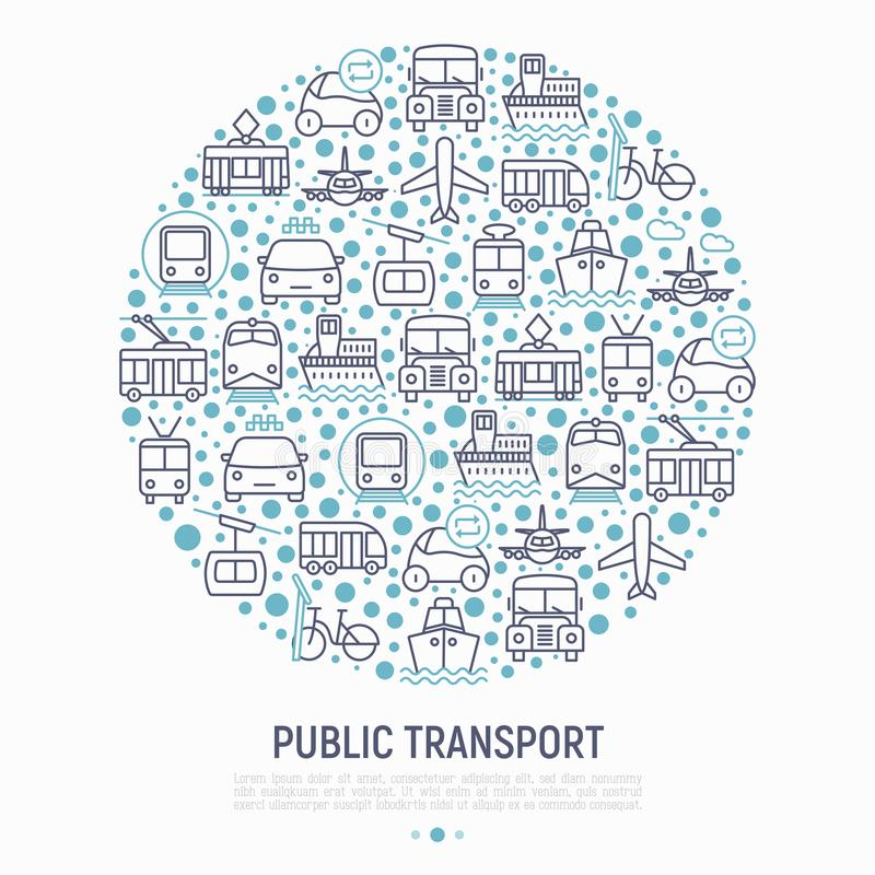 Public transport concept in circle royalty free illustration