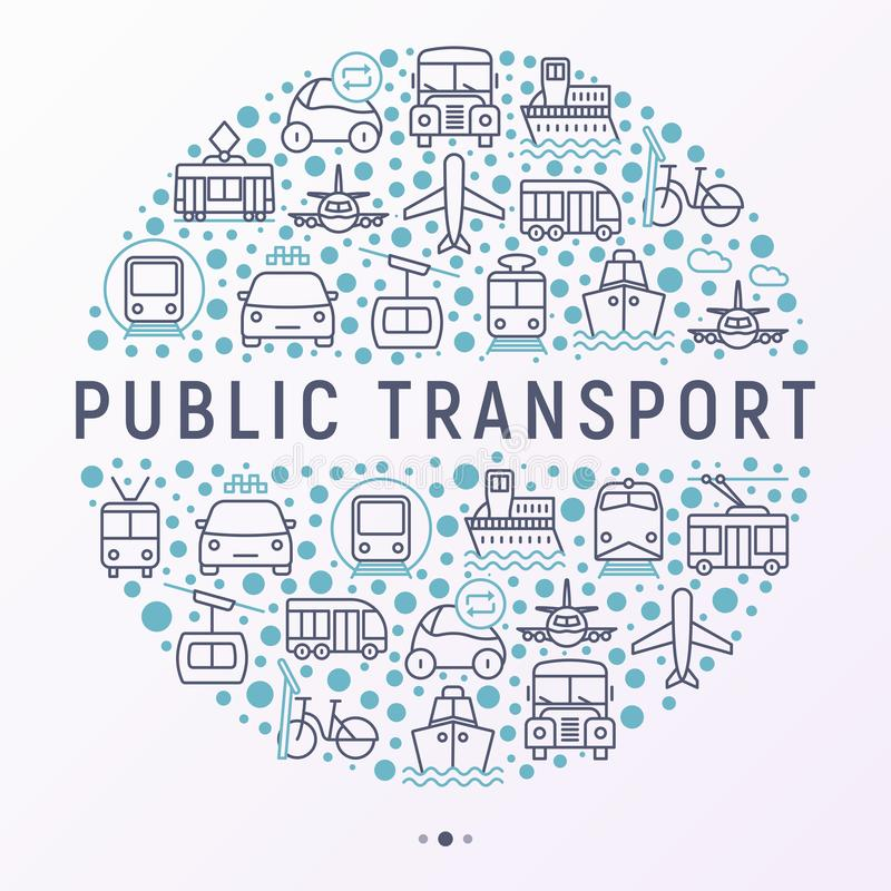 Public transport concept in circle vector illustration