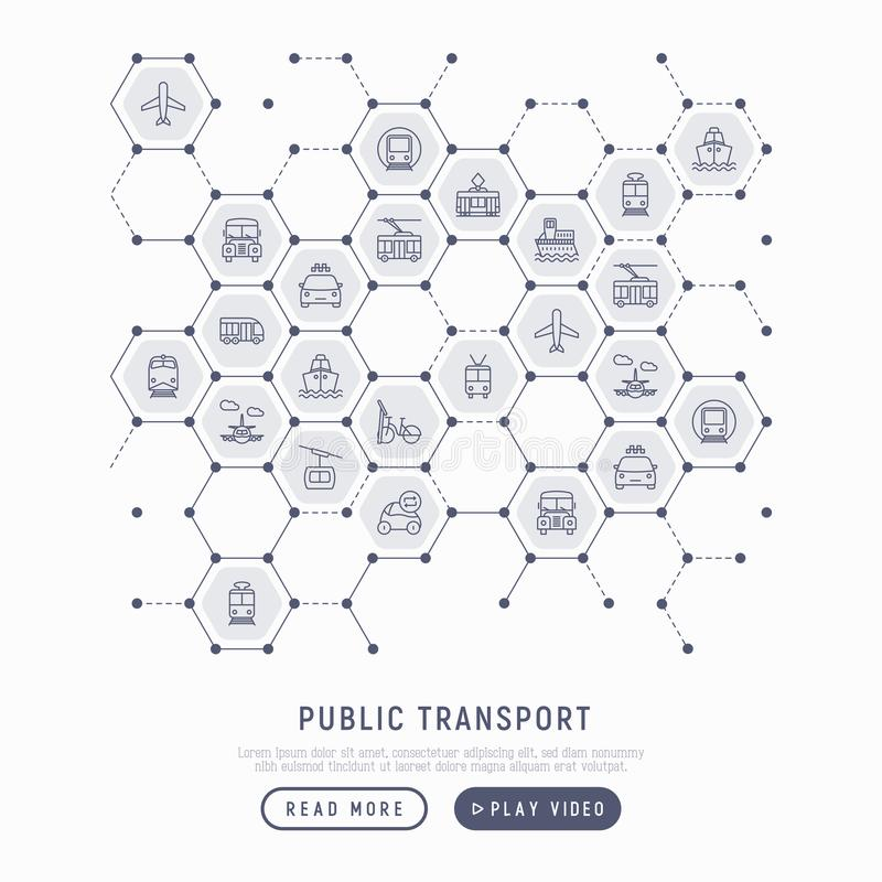 Public transport concept in honeycombs stock illustration