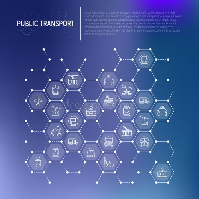 Public transport concept in honeycombs vector illustration