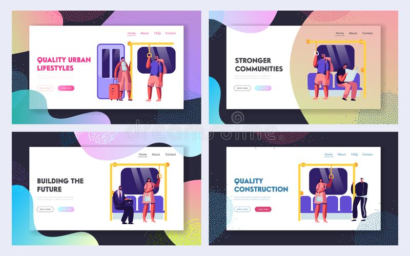 Public Transport Metro Website Landing Page Templates Set. Passengers in Underground, Tourists and Native Citizens. Inside Underpass Transportation Web Page stock illustration