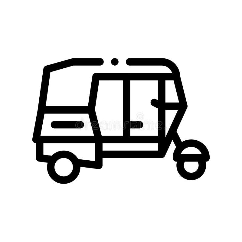 Public Transport Rickshaw Vector Thin Line Icon royalty free illustration