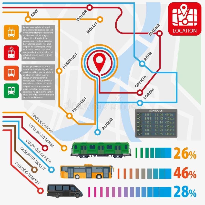 Public transport routes stations statistics vector infographics flat template. Public transport routes and stations infographics template. Municipal passenger stock illustration