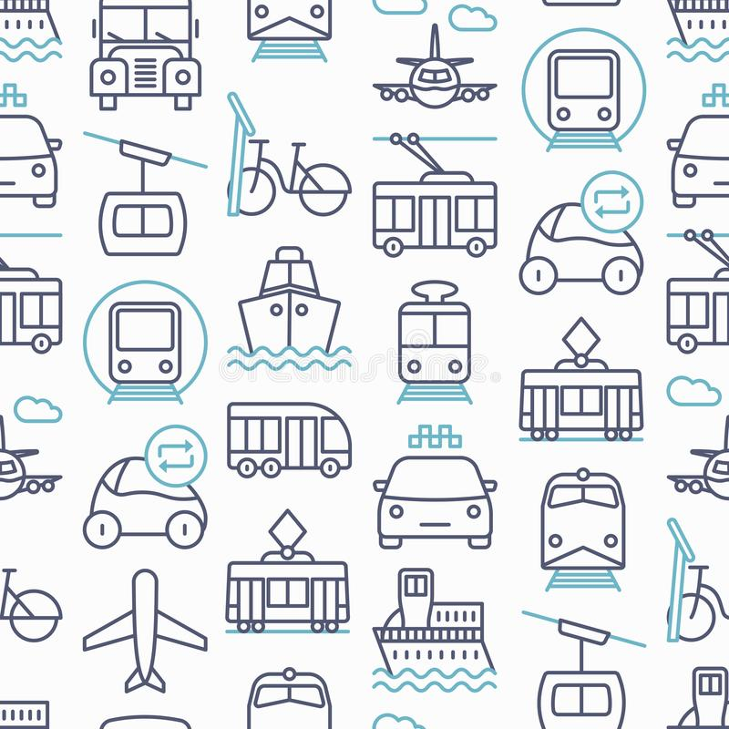 Public transport seamless pattern royalty free illustration
