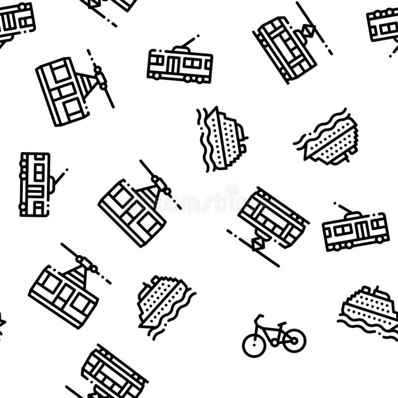 Public Transport Seamless Pattern Vector stock illustration
