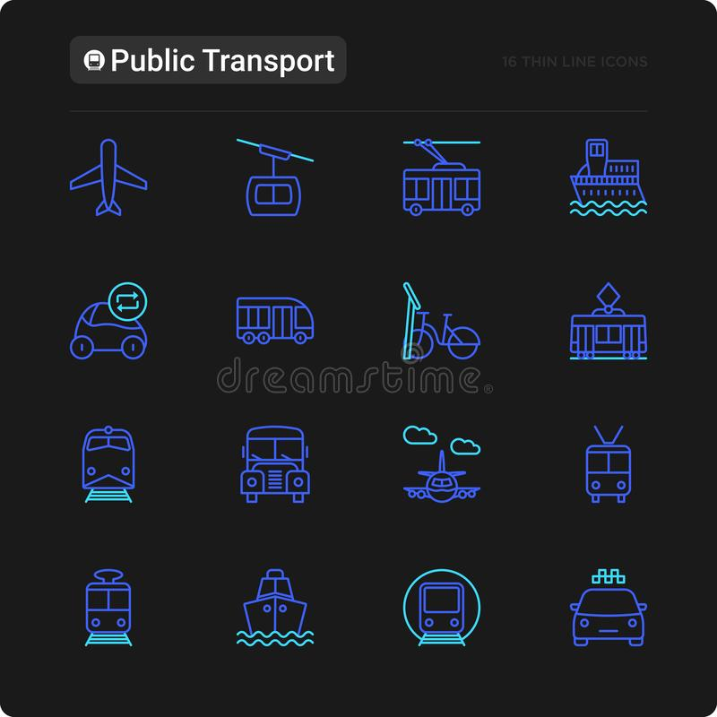 Public transport thin line icons set vector illustration