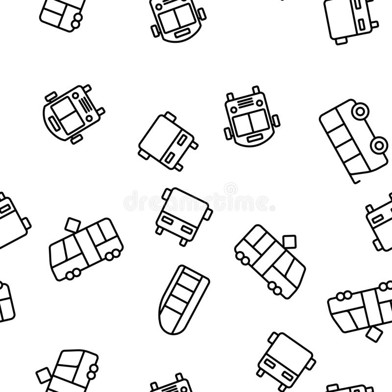 Public Transport And Vehicle Vector Seamless Pattern royalty free illustration