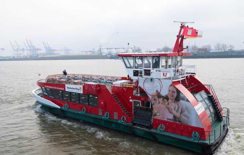 Public transportation boat in Hamburg, Germany royalty free stock photo