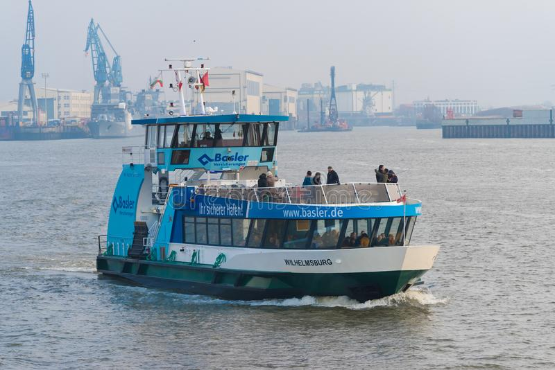 Public transportation boat in Hamburg, Germany stock image