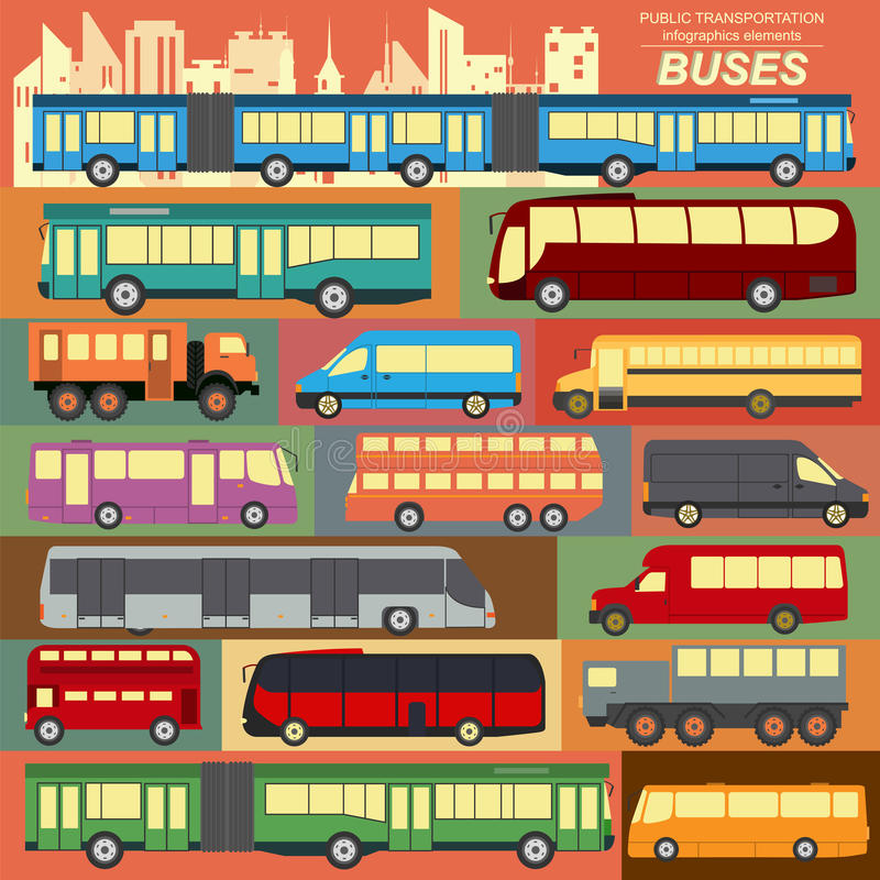 Public transportation, buses. Set elements infographics vector illustration