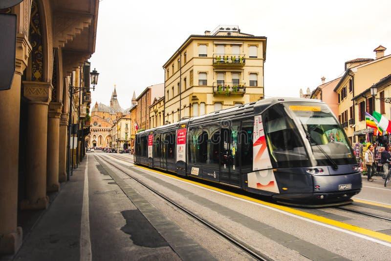 Public transportation in italy, tram return from Basilic di Sant Antonio in Padova royalty free stock images