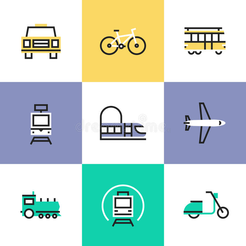 Public transportation pictogram icons set stock illustration