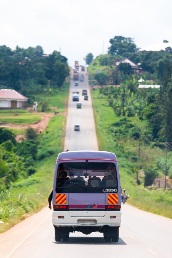 Public transportation on a street in Uganda royalty free stock photo