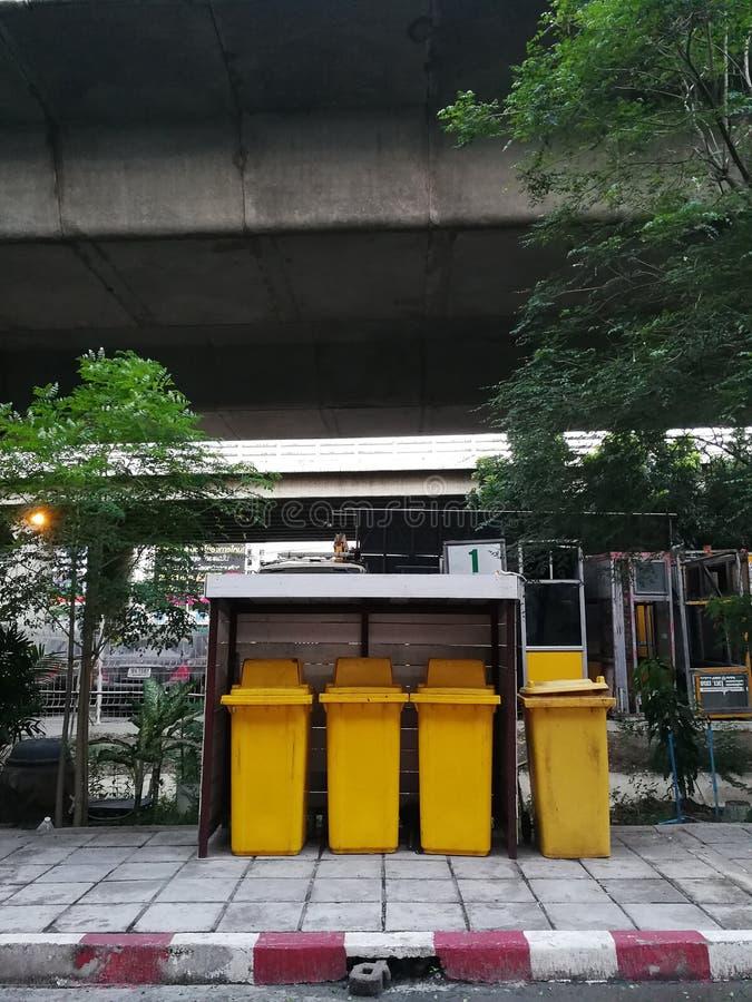 Public trash in Bangkok ,Thailand stock photography