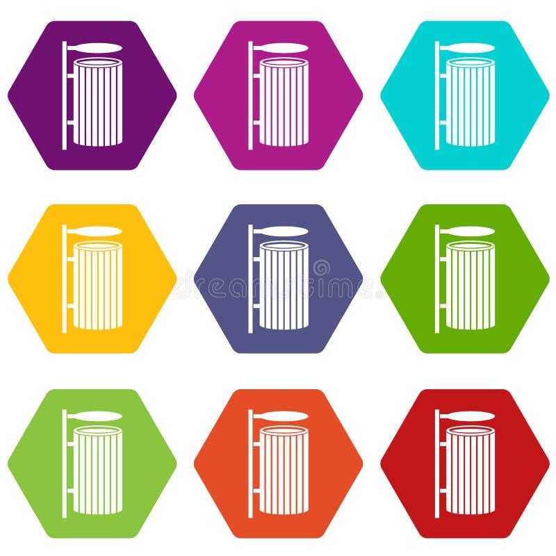 Public trash can icon set color hexahedron vector illustration