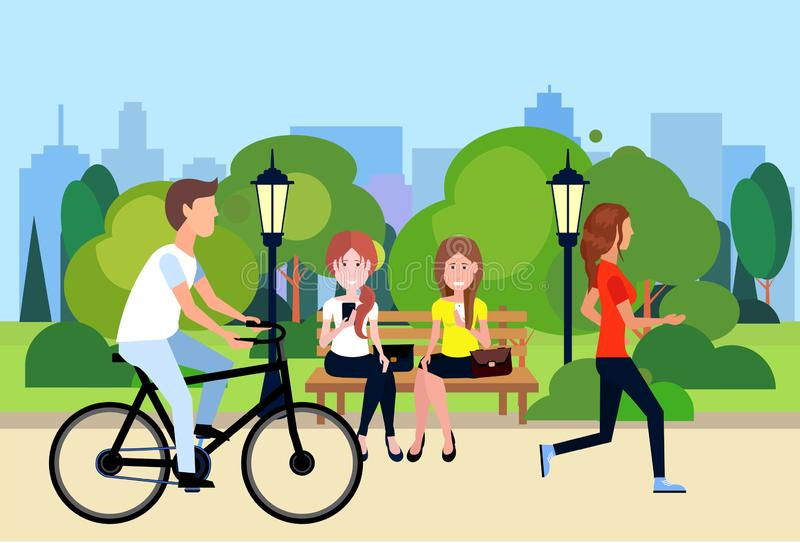Public urban park woman man sitting wooden bench outdoors walking cycling running green lawn trees on city buildings. Template background flat vector royalty free illustration