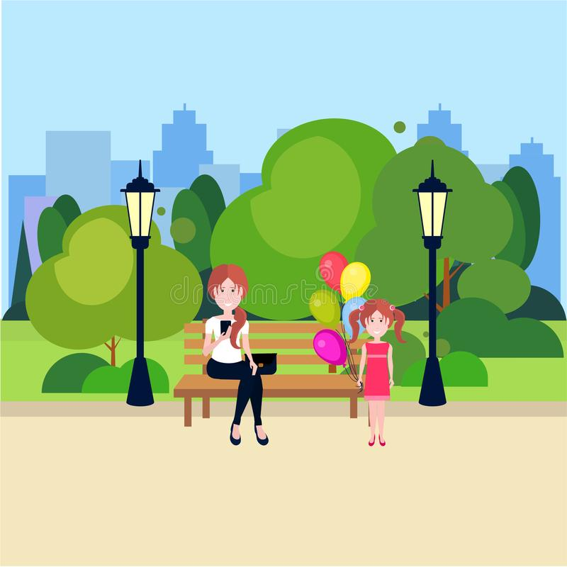Public urban park woman sitting wooden bench girl hold balloons street lamp green lawn trees on city buildings template. Public urban park woman sitting wooden vector illustration