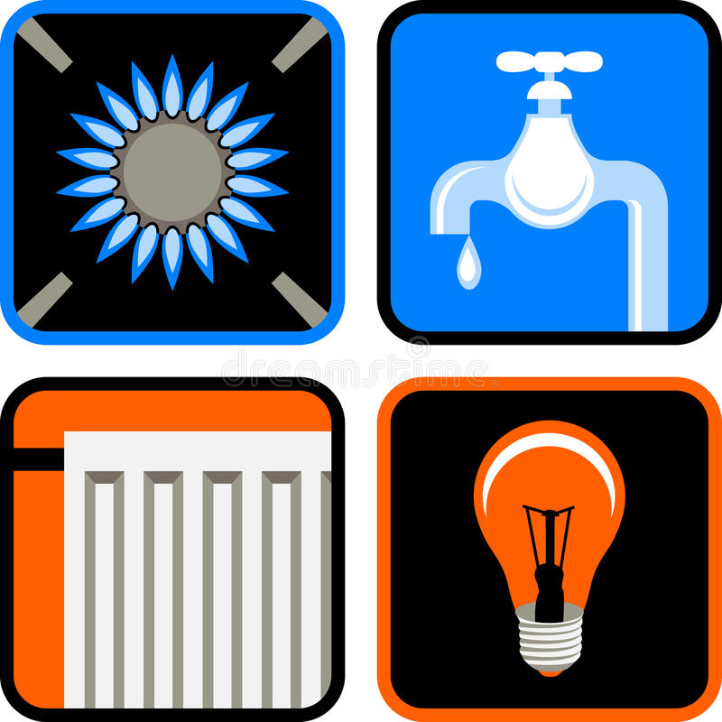 Public Utilities Icon Set stock photos