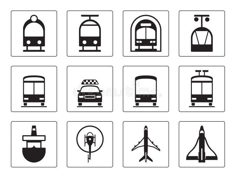 Public vehicles icons set