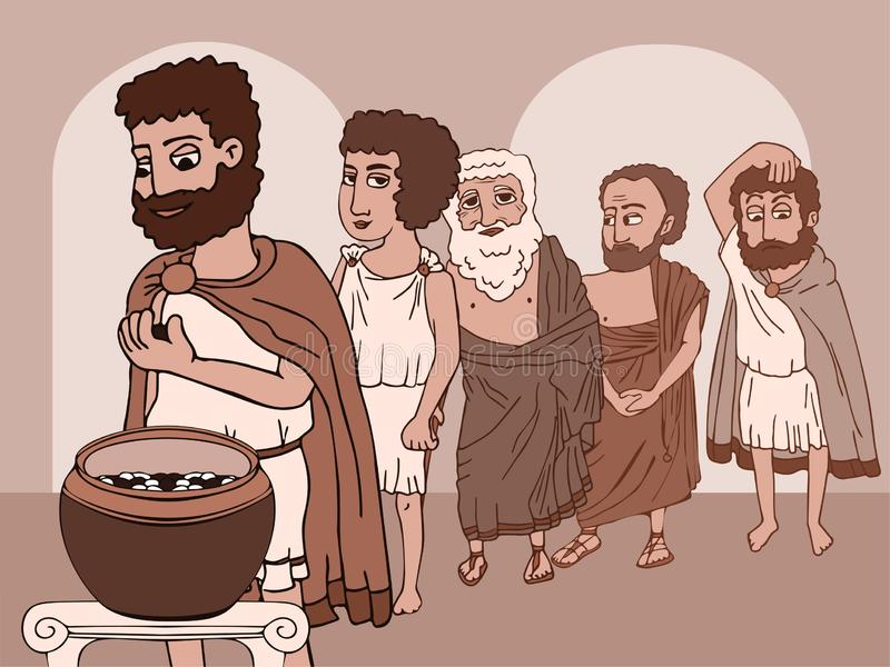 Public voting in Ancient Greece funny cartoon stock illustration