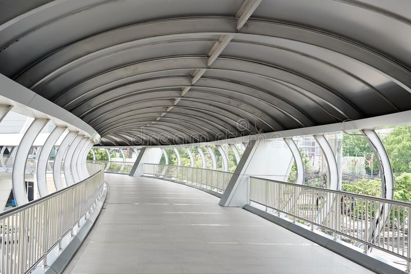 Public walkway overpass The roof has sun and rain. People use it. Travel to safety To walk across the street The corridor can be c royalty free stock photography