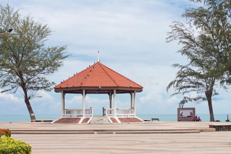 A Public waterfront pavilion which is a popular tourist destination near the mermaid at Samila beach, Songkhla Province, Thailand royalty free stock photo