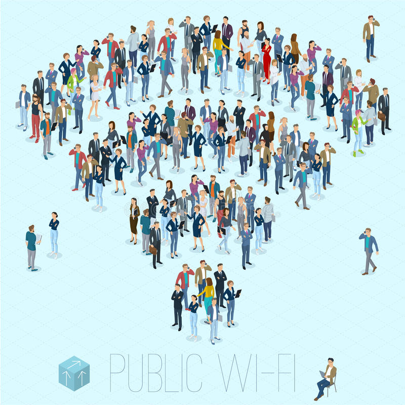 Public wifi people crowd sign vector illustration