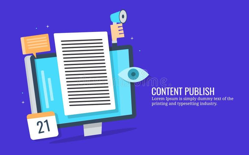 Publicación contenta, lectores de acoplamiento, márketing digital, concepto social de la promoción de los medios Bandera plana de stock de ilustración